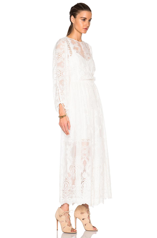 Zimmermann alchemy embroidered dress in white lyst