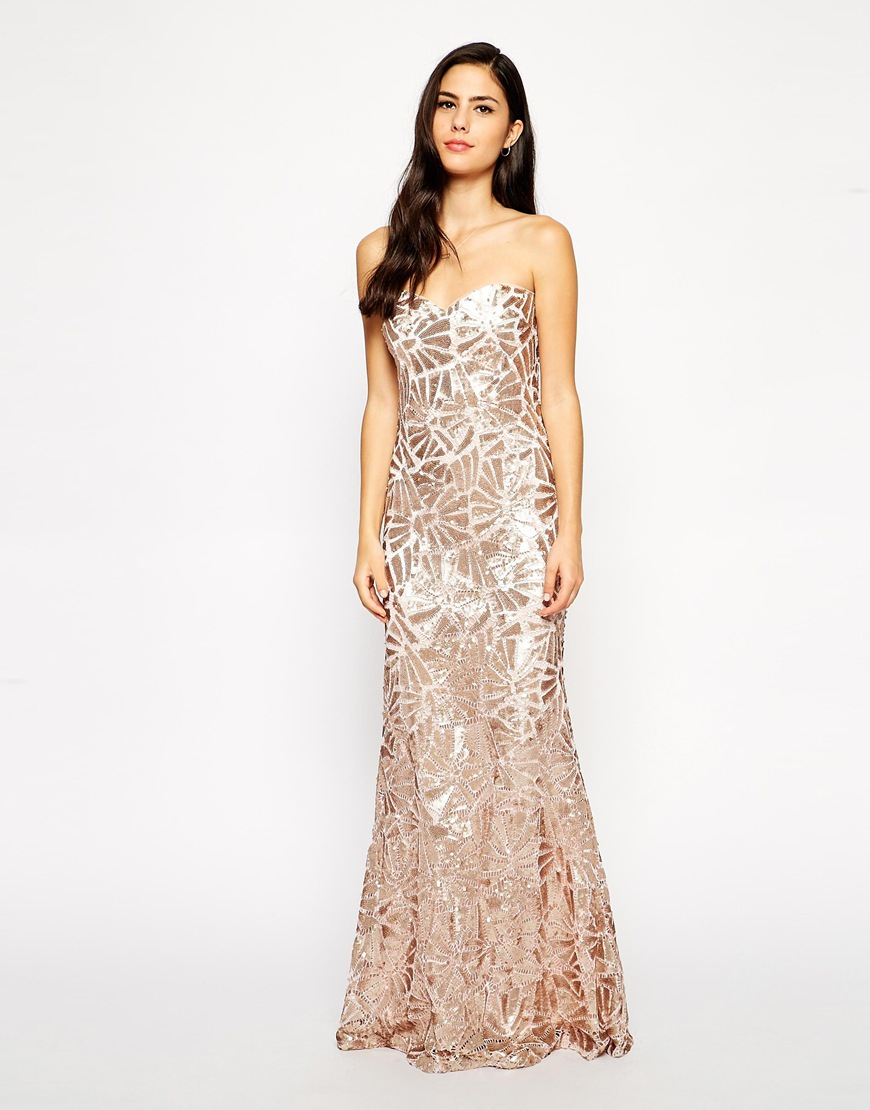 Forever unique Fontanne Sequin Maxi Dress in Natural | Lyst