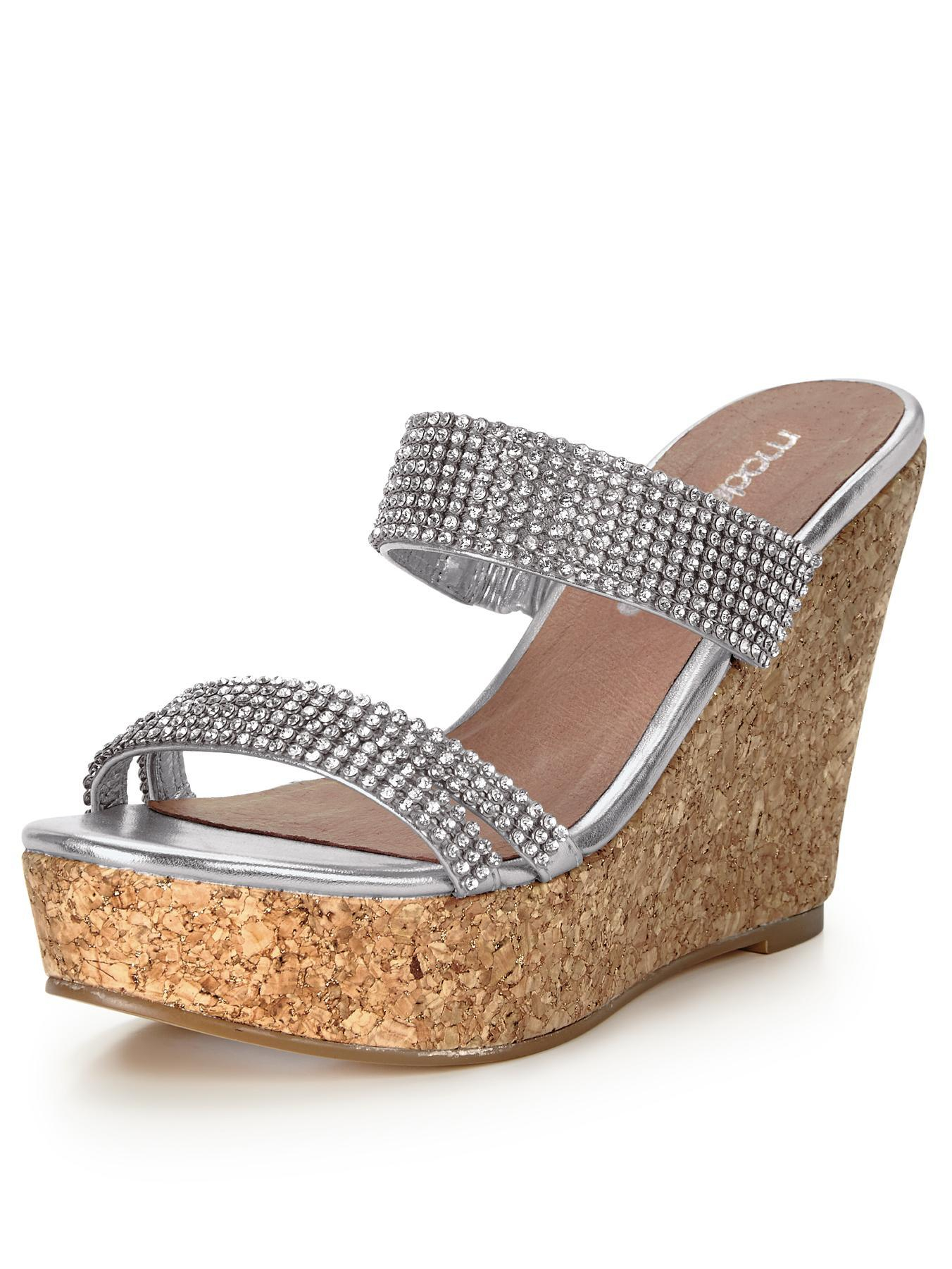 Moda In Pelle Zina Strappy Wedge Diamonte Sandals In Gold