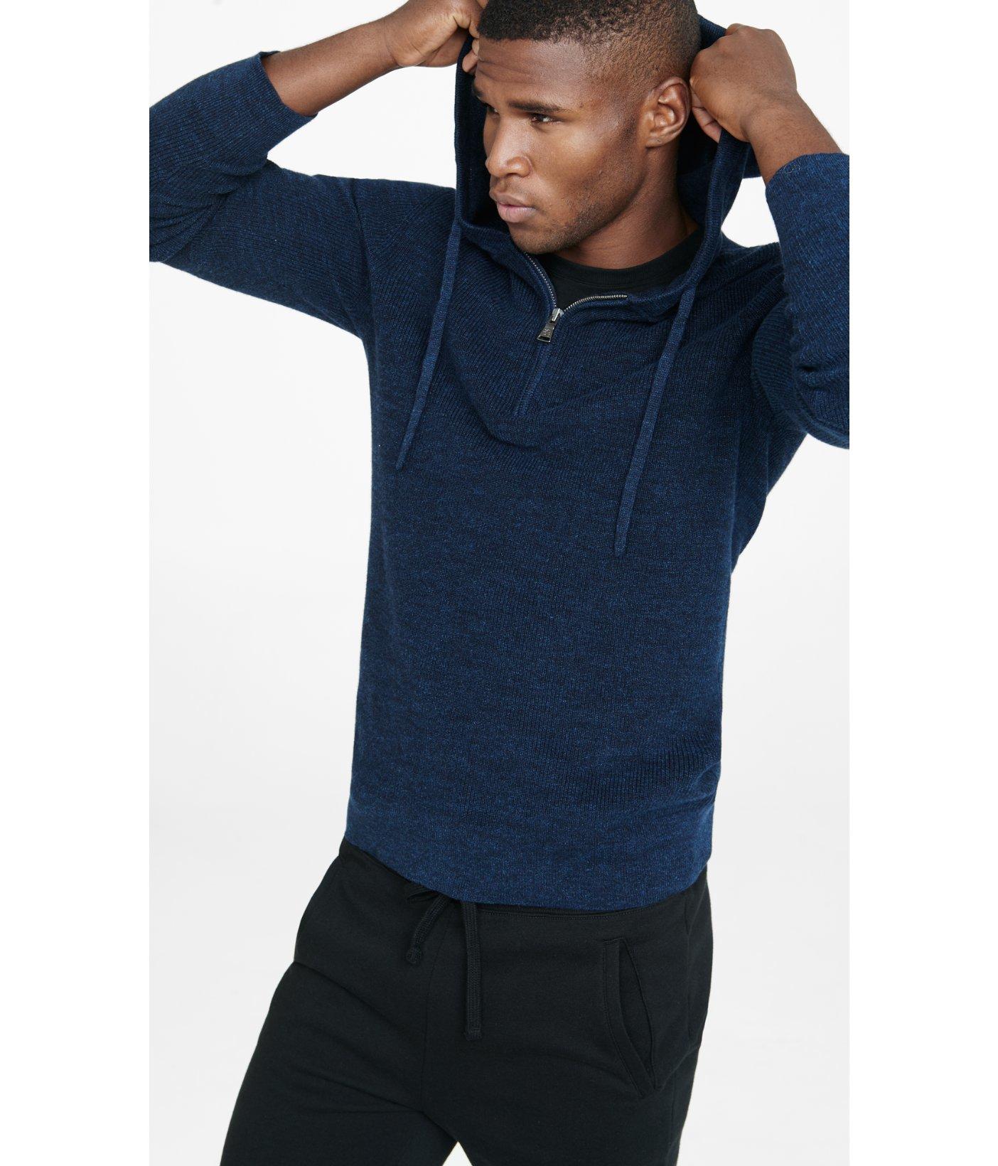 Express Navy Cotton Half Zip Hooded Sweater in Metallic for Men | Lyst