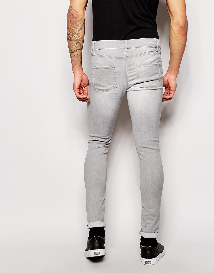 Asos Extreme Super Skinny Jeans In Light Gray in Gray for Men | Lyst