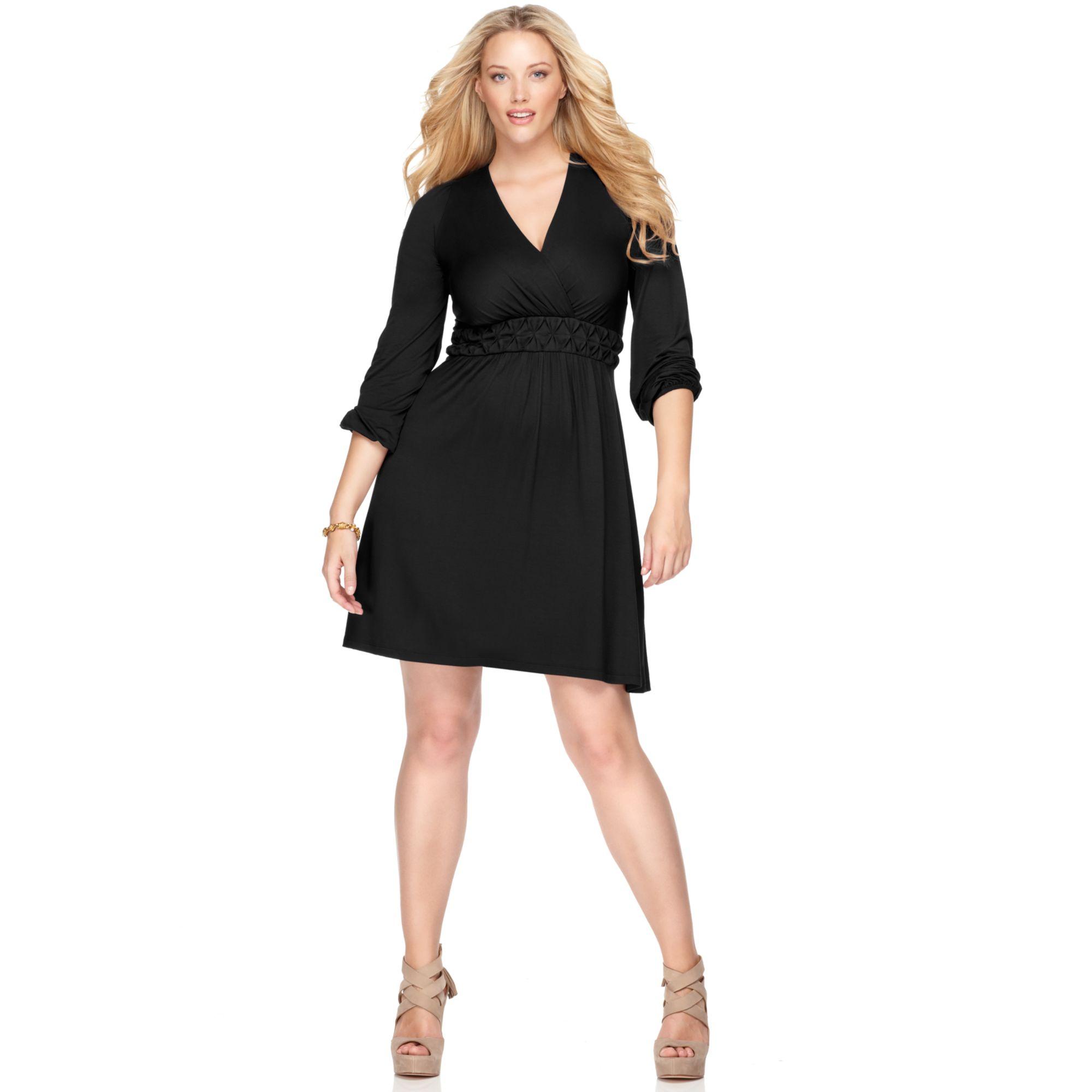 Lyst Soprano Plus Size Longsleeve Aline Empire Dress In Black