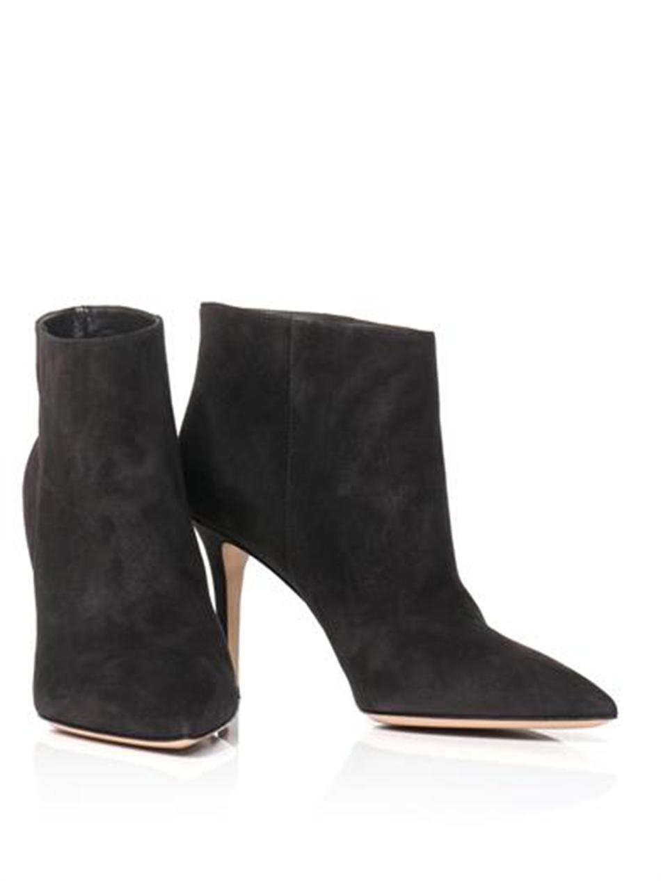 Gianvito Rossi Stilo Suede Ankle Boots in Grey (Grey)