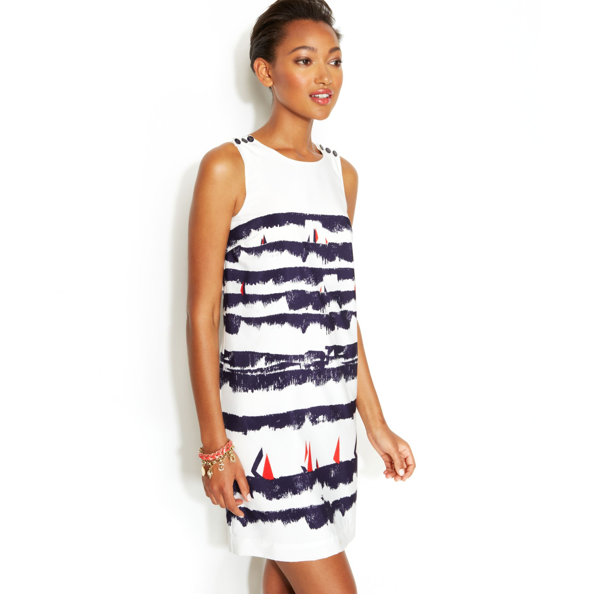 502edb47fc0 Tommy Hilfiger Sleeveless Printed Buttonshoulder Shift Dress in ...