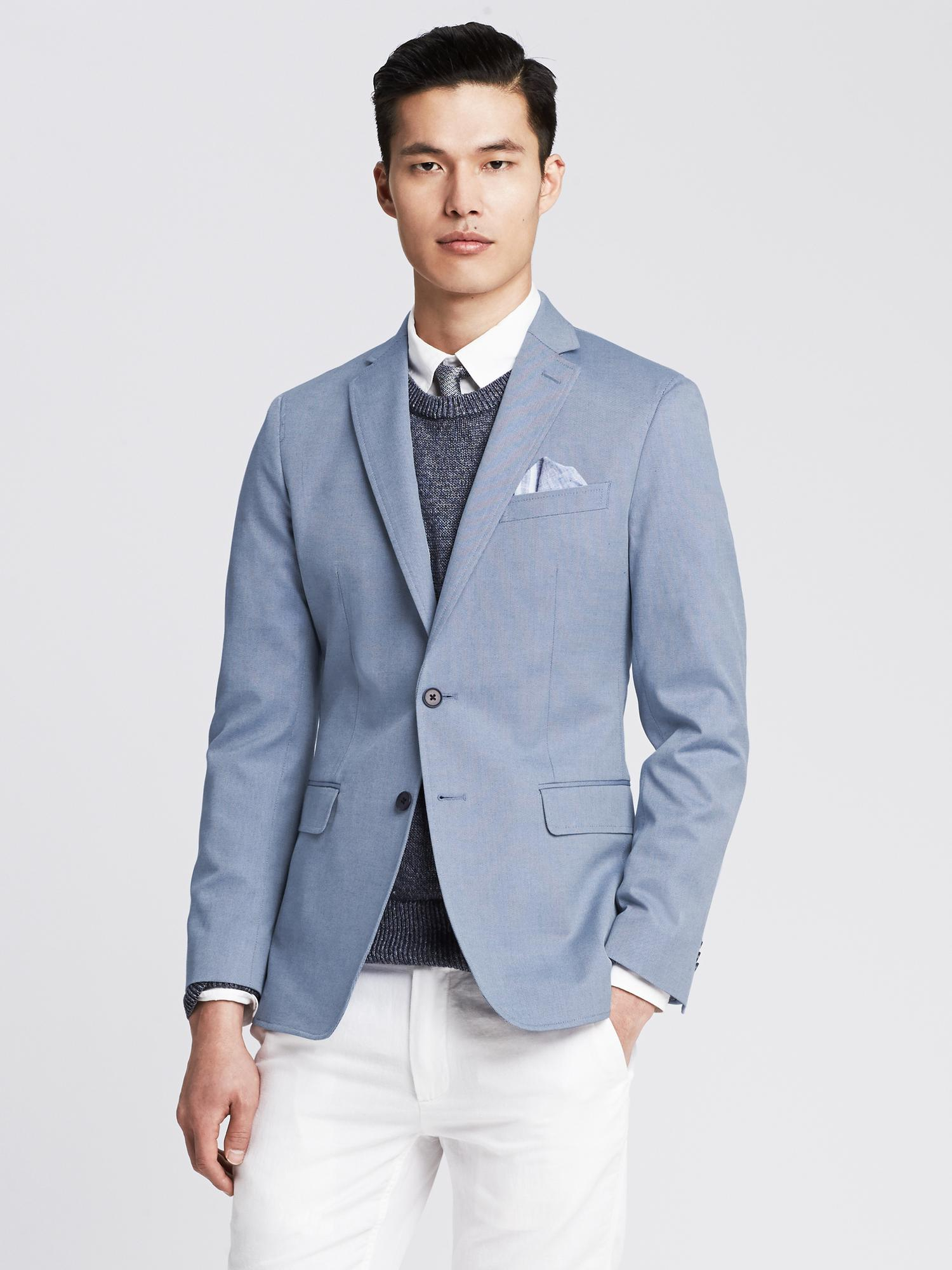 Images of Mens Light Blue Blazer - Reikian