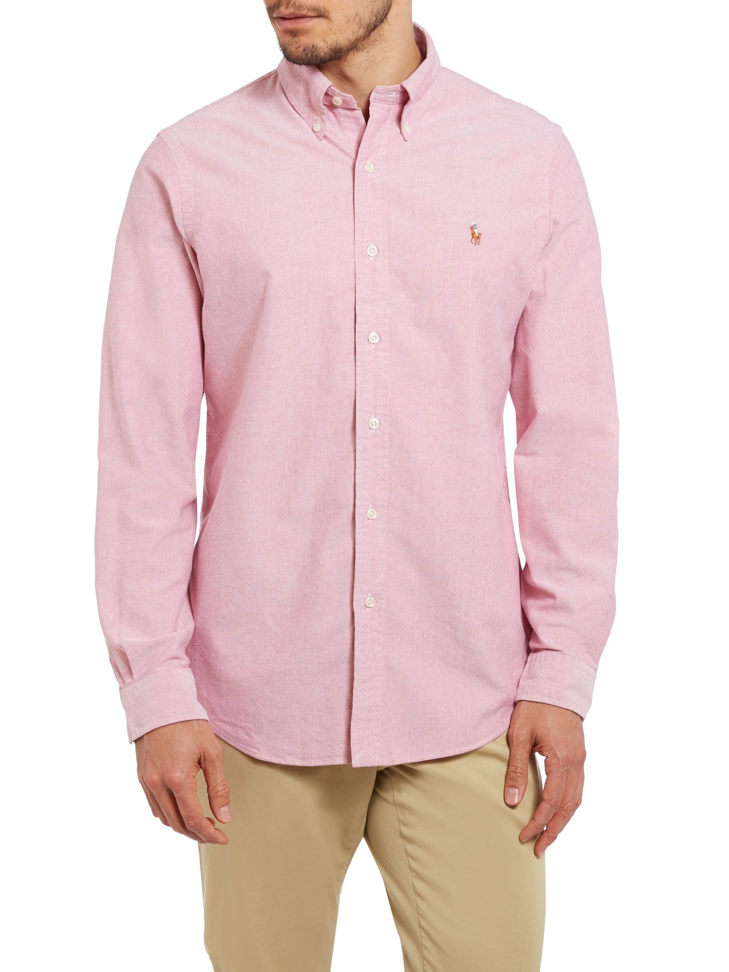 Polo ralph lauren long sleeve custom fit oxford shirt in for Pink oxford shirt men