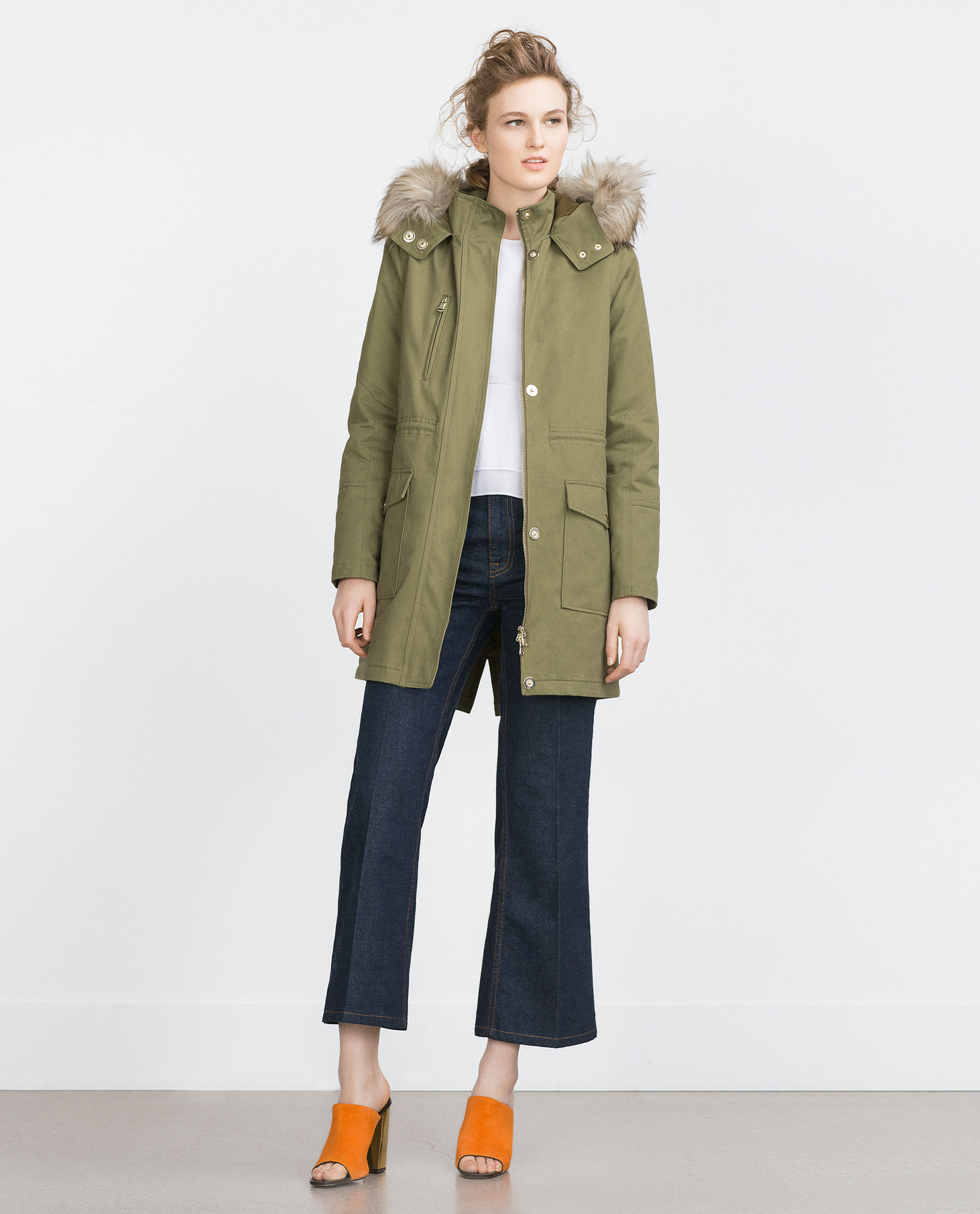 Zara Oversized Parka in Natural | Lyst