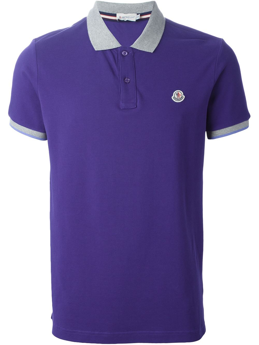 Moncler Contrast Collar Polo Shirt In Blue For Men Lyst