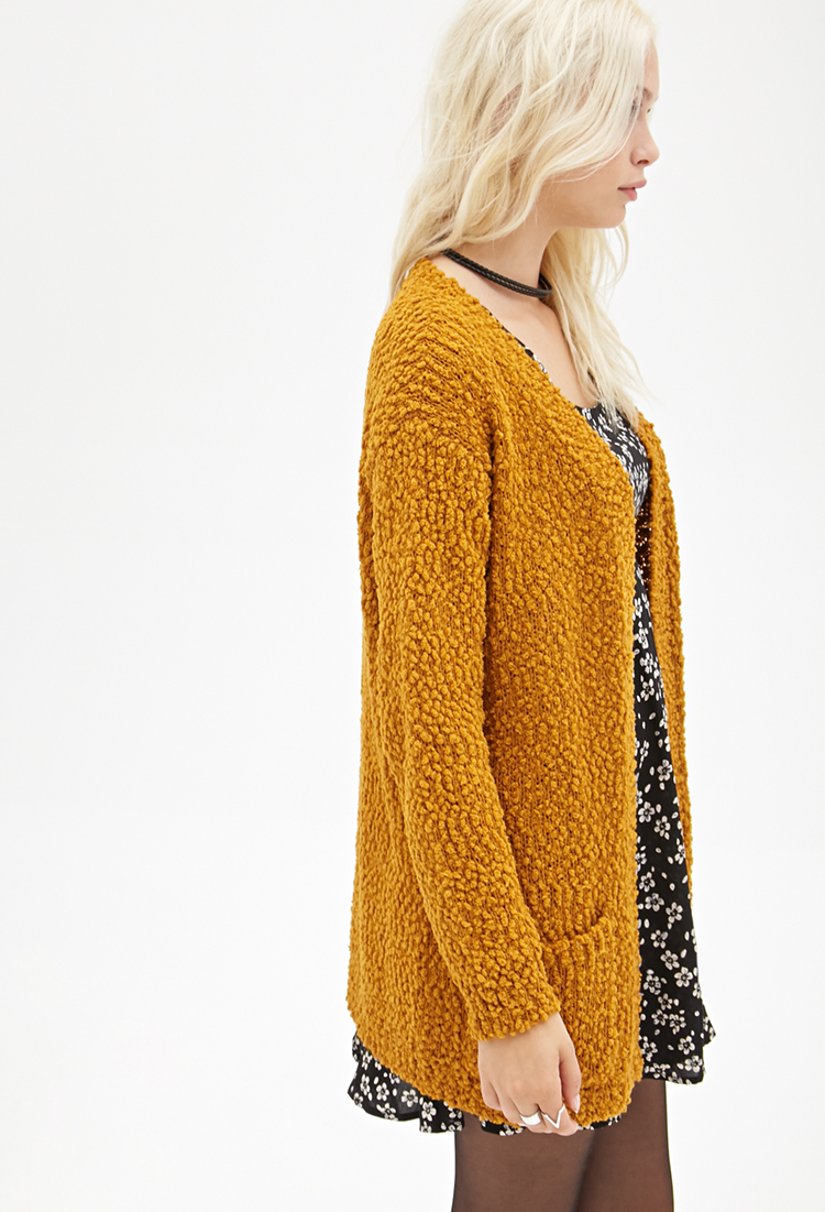Forever 21 Textured Open-front Cardigan in Orange | Lyst