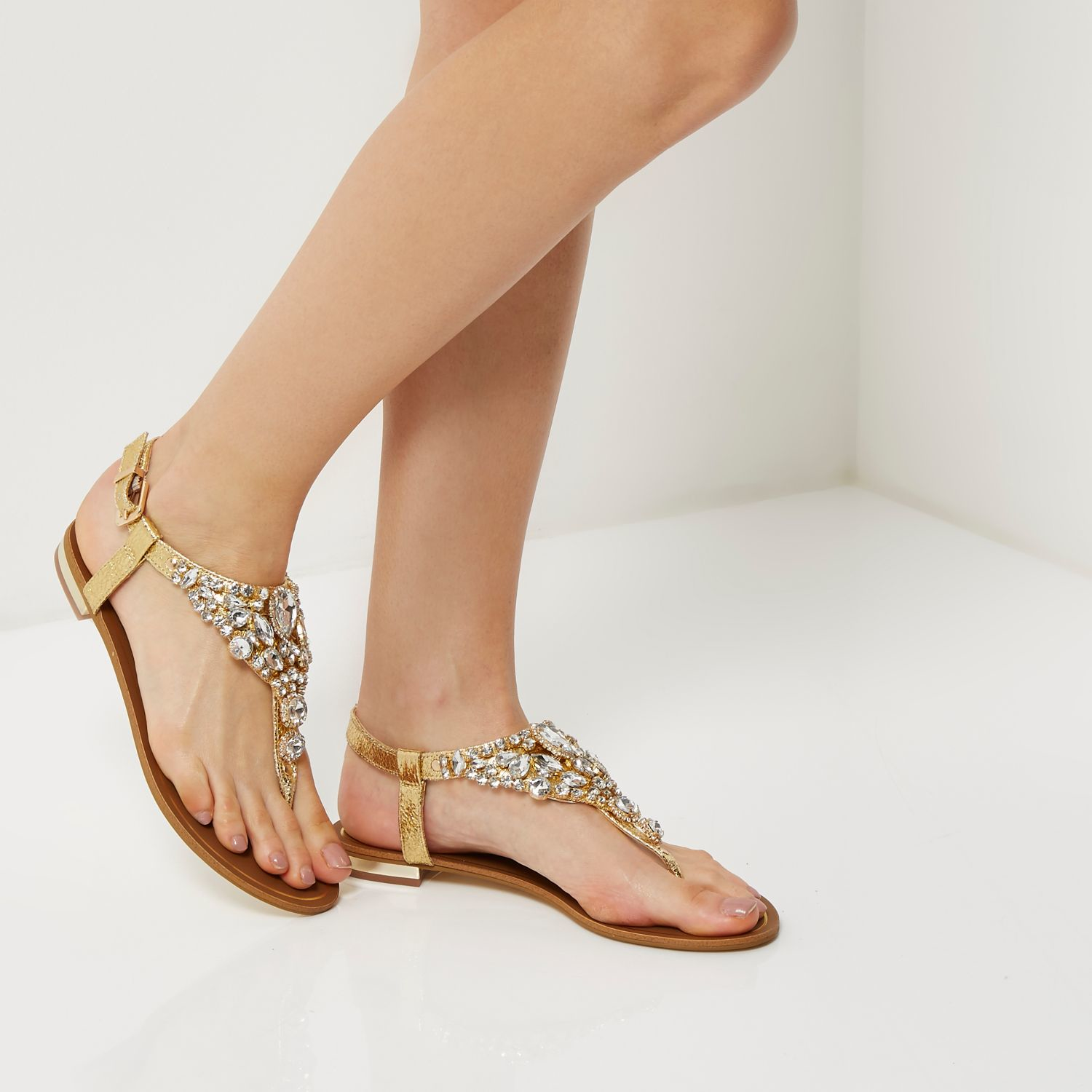 b3bd61ad5bc Lyst - River Island Gold Metallic Embellished Sandals in Brown
