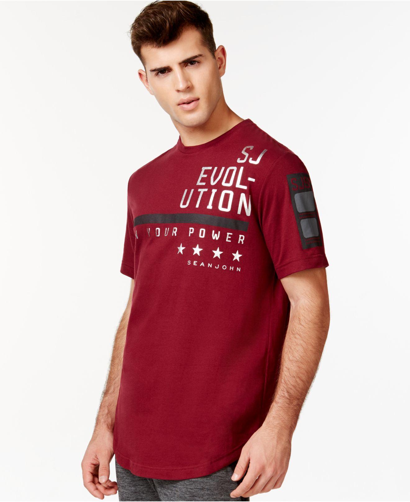 Lyst sean john teevolution t shirt in red for men for Sean john t shirts for mens