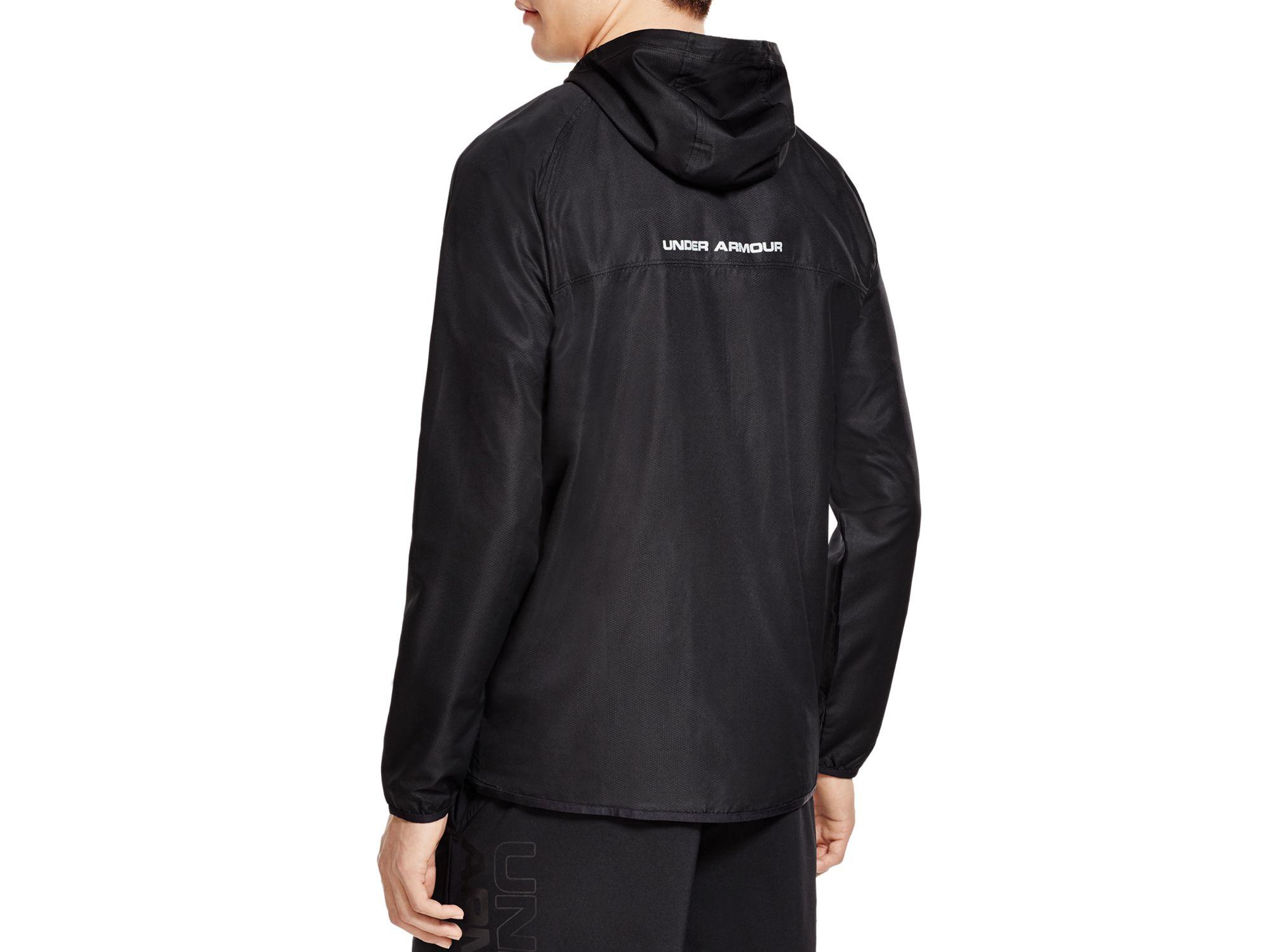 Under armour Sportstyle Hooded Windbreaker Jacket in Black for Men ...