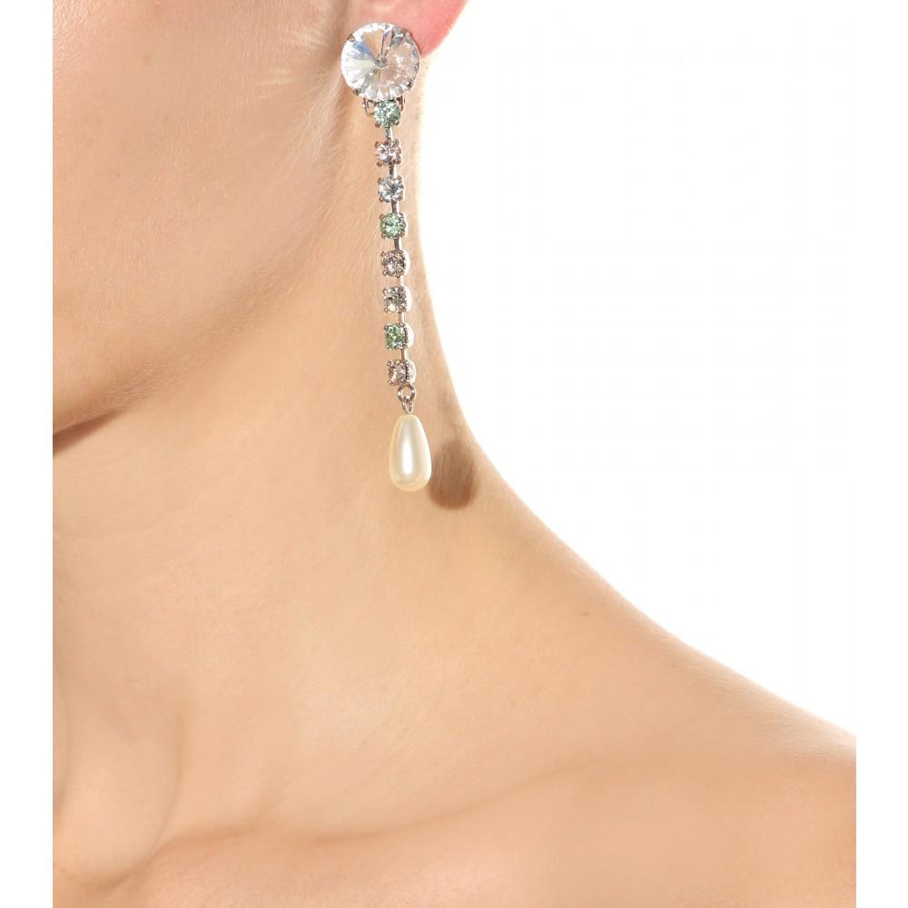 Silver Crystal and Pearl Clip-On Earrings Miu Miu D9HDAaKTwg