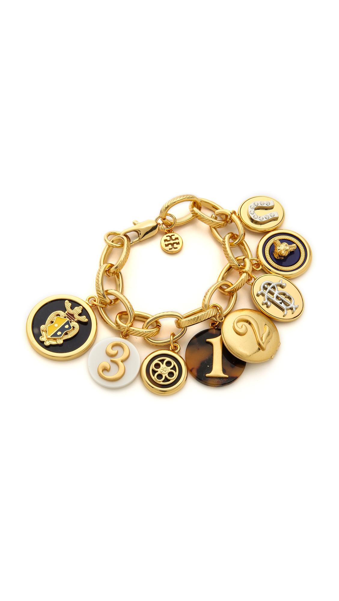 Lyst Tory Burch Dellora Charm Bracelet Multi Shiny