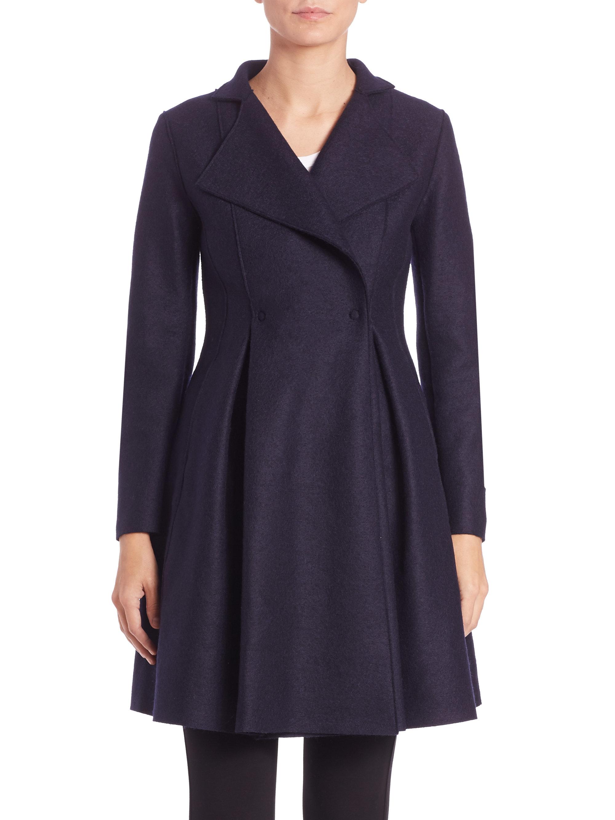 harris wharf london flairy pressed wool coat in blue lyst. Black Bedroom Furniture Sets. Home Design Ideas