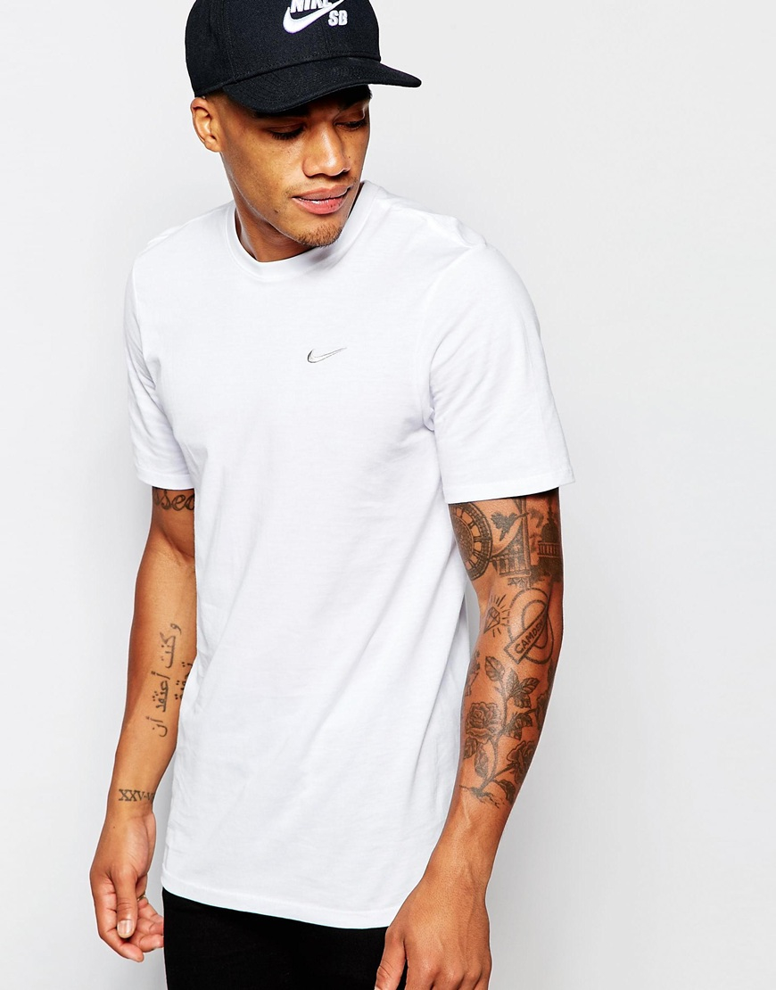nike t shirt with embroidered swoosh in white for men lyst. Black Bedroom Furniture Sets. Home Design Ideas