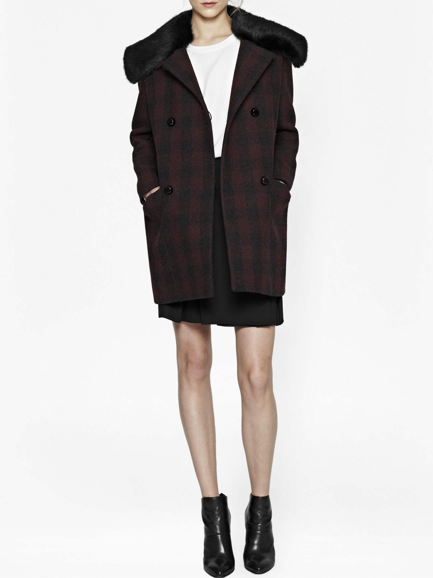 5695aaeadf French Connection Highland Wool   Faux Fur Coat - Lyst