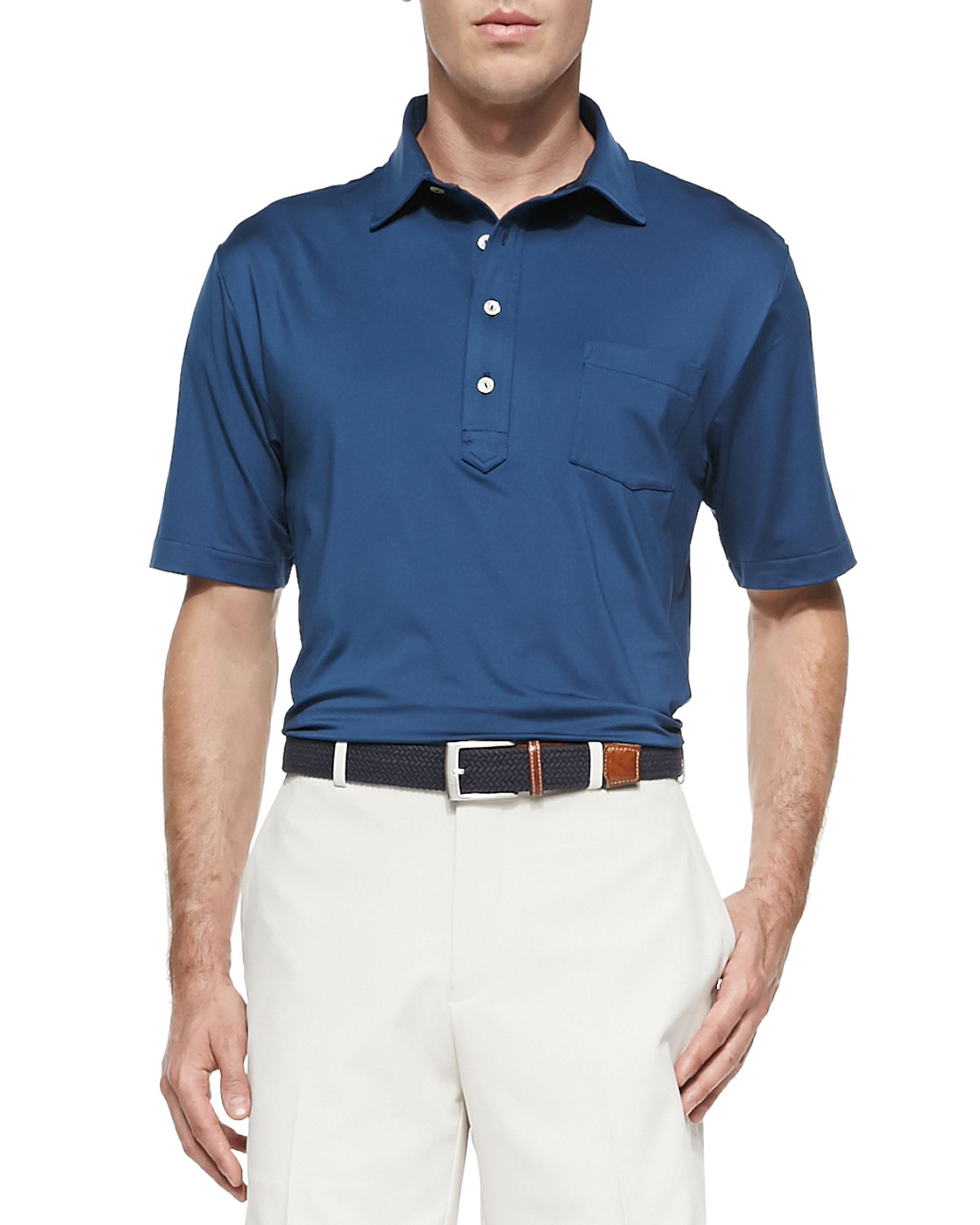 Peter Millar Solid Stretch Jersey Polo With Snedeker Hard
