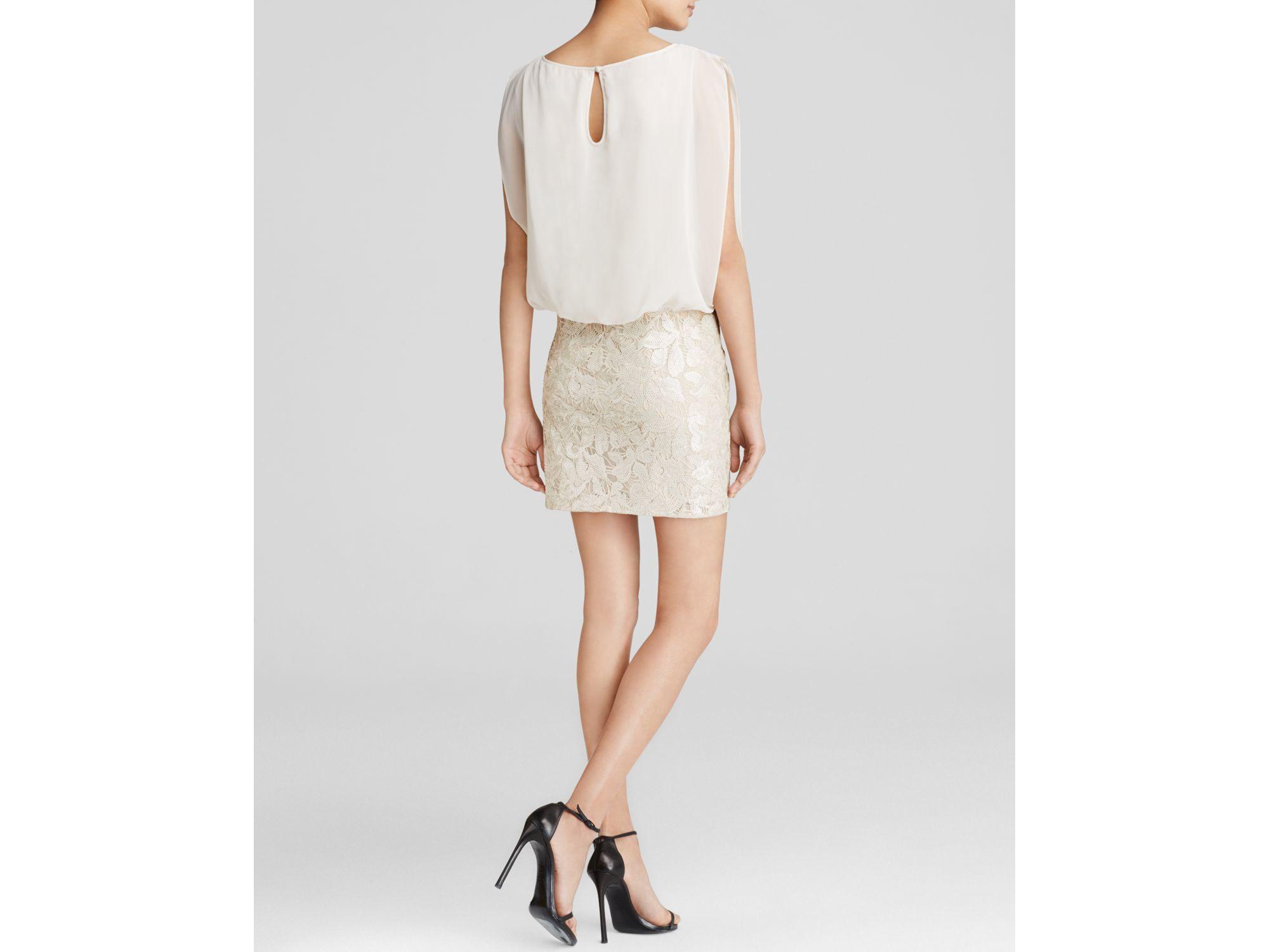0e8aa66cf18 Aidan Mattox Dress - Sleeveless Chiffon Blouson Bodice   Sequin Lace ...