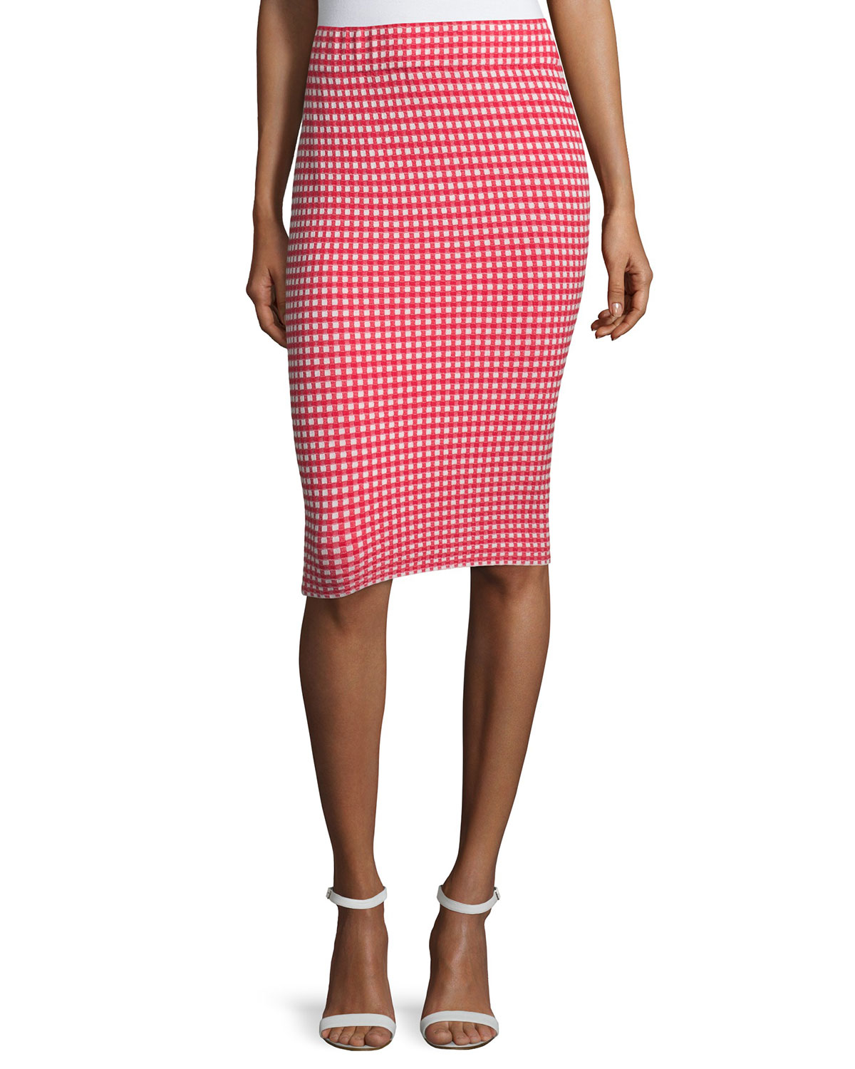 cfd20657e2 Jonathan Simkhai Gingham Stretch Pencil Skirt in Pink - Lyst
