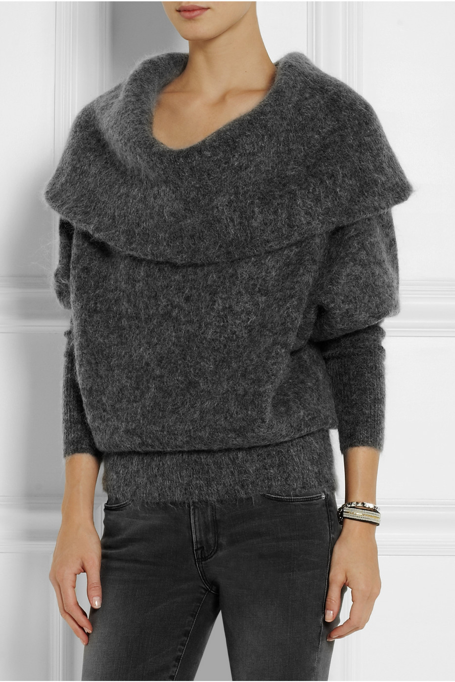 lyst acne studios daze oversized knitted sweater in gray. Black Bedroom Furniture Sets. Home Design Ideas