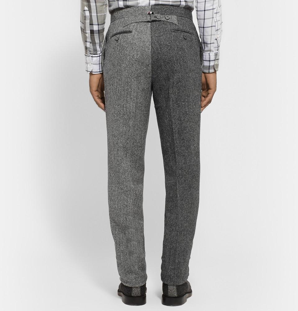 Thom Browne Grey Slim Fit Herringbone Wool Tweed Suit