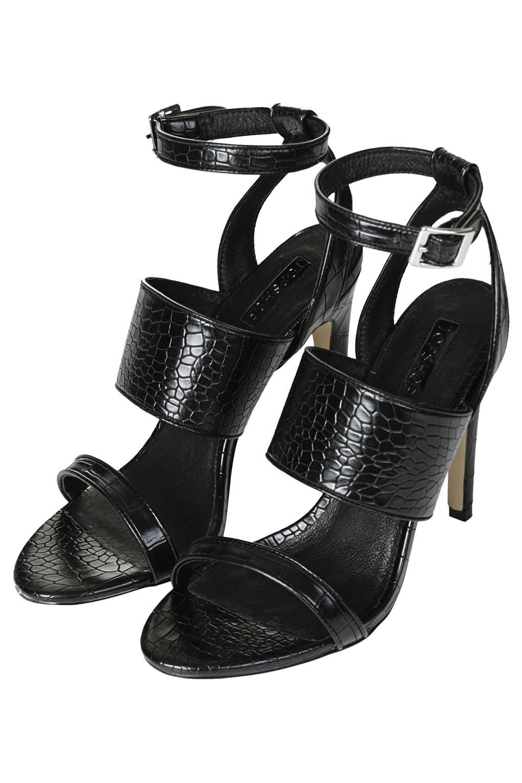 Topshop Rita Croc Effect Sandals In Black Lyst