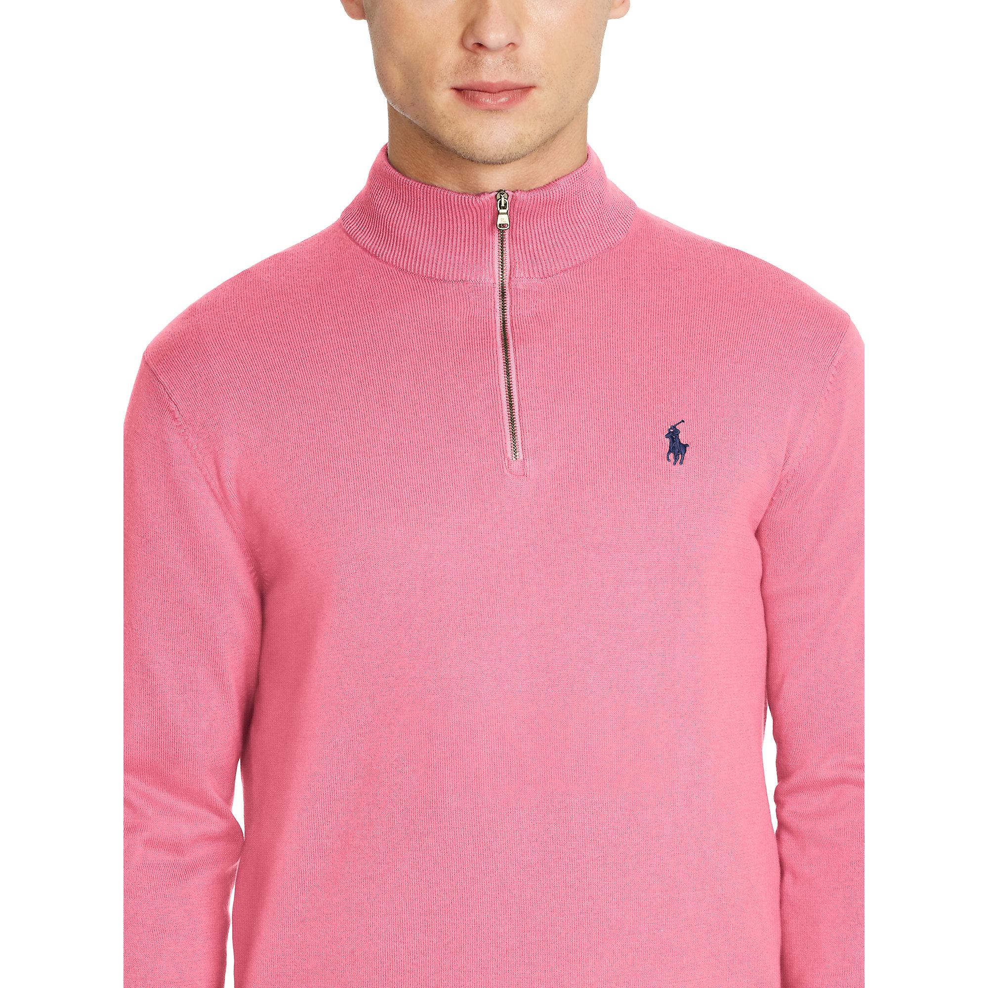 Pink pony Pima Cotton Half-zip Sweater in Pink for Men | Lyst