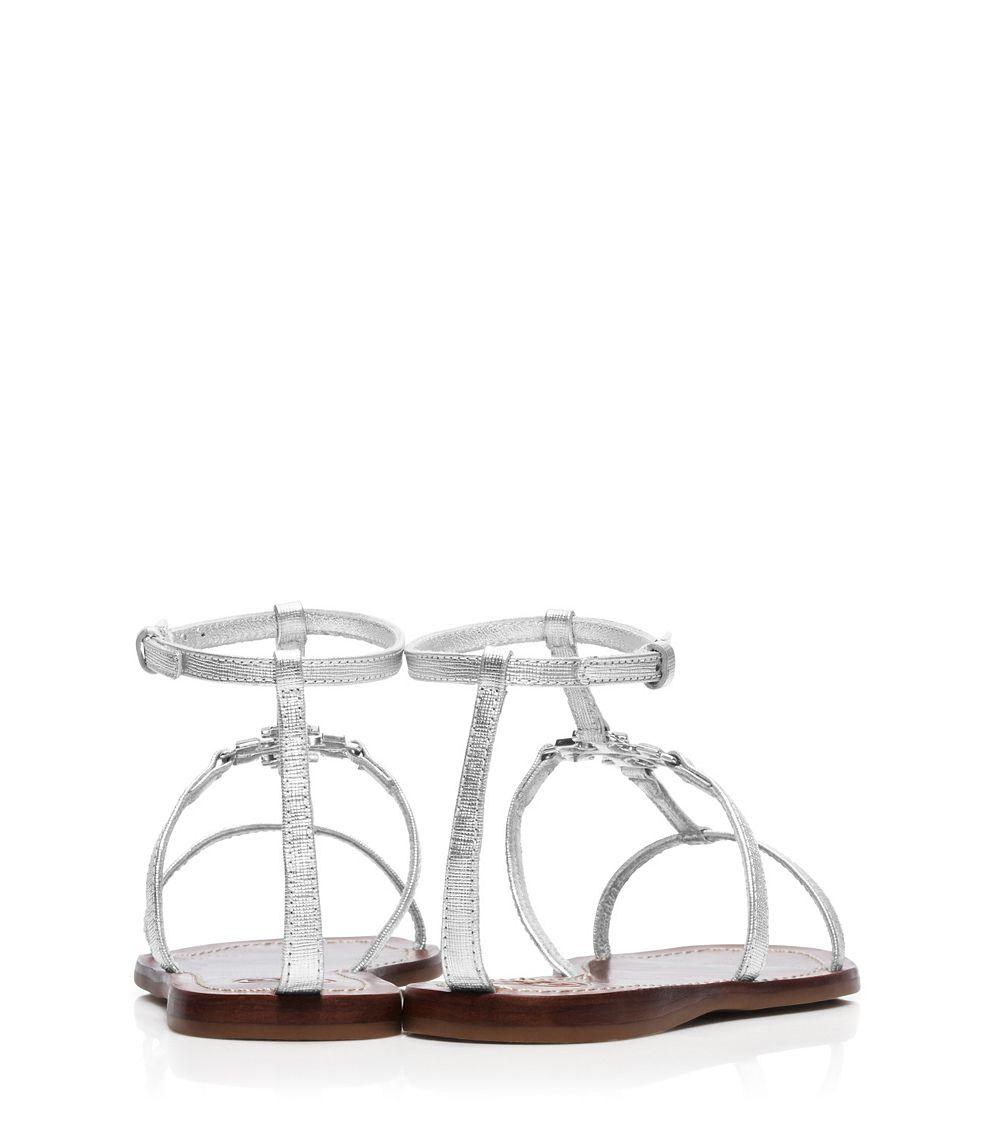 9d0d9c77416ea6 Lyst - Tory Burch Lowell Metallic Flat Sandal in Metallic
