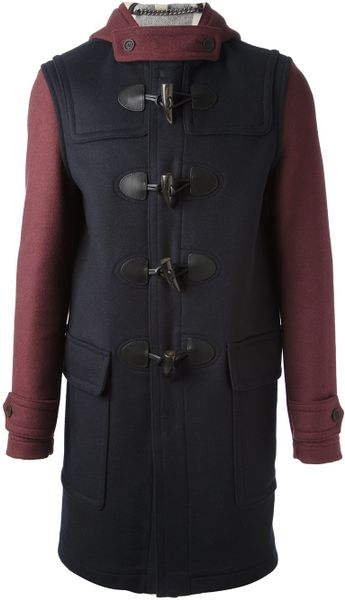 burberry brit montgomery bicolour duffle coat in red for. Black Bedroom Furniture Sets. Home Design Ideas