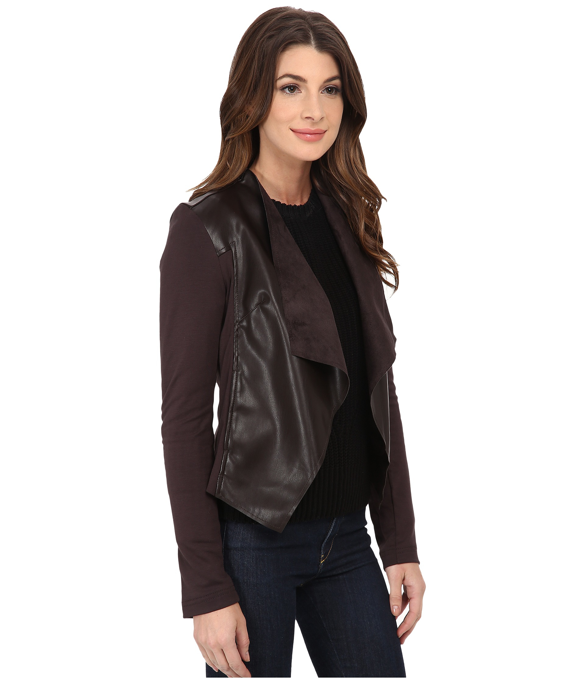 Kut From The Kloth Faux Leather Drape Jacket In Brown Lyst
