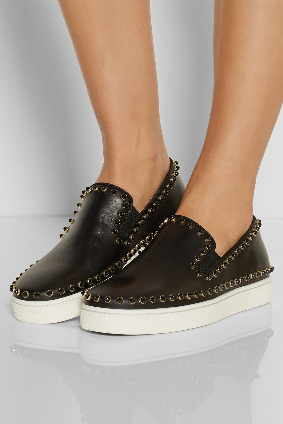 d9819419f08 Christian Louboutin Black Cador Studded Leather Slip-On Sneakers