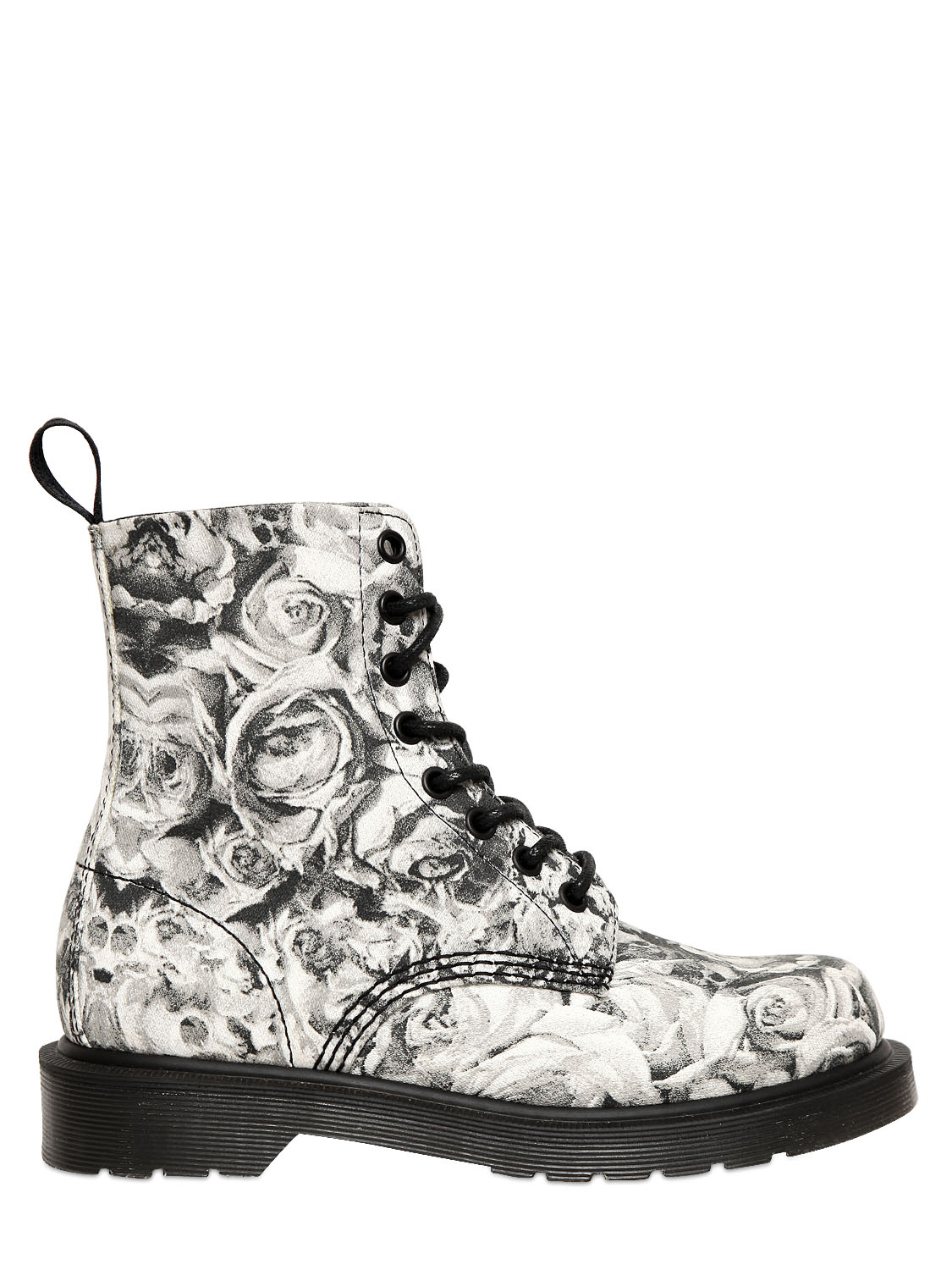 Dr Martens 30mm Skull Roses Printed Canvas Boots In
