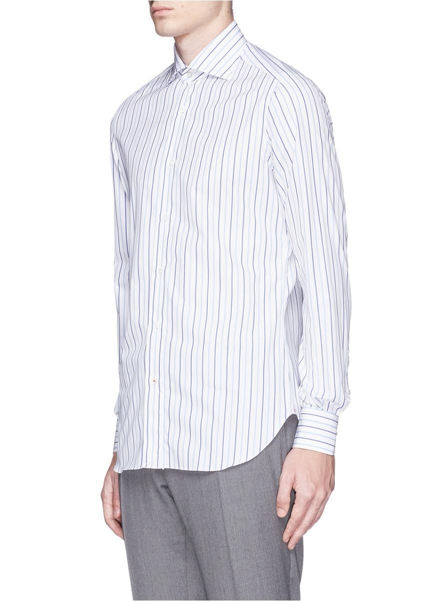 Isaia 39 milano 39 spread collar stripe shirt in blue for men for Semi spread collar shirt