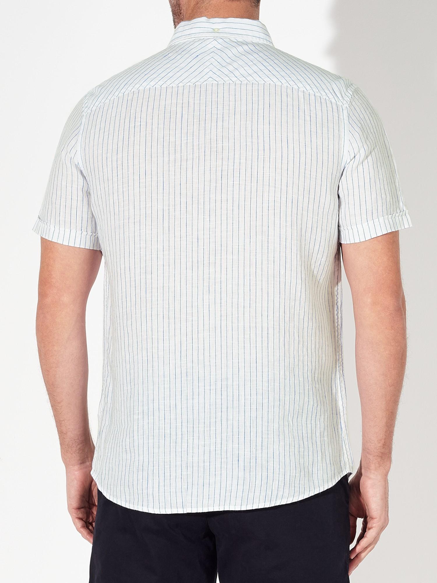 Lyst john lewis slim stripe short sleeve linen shirt in for Short sleeve linen shirt