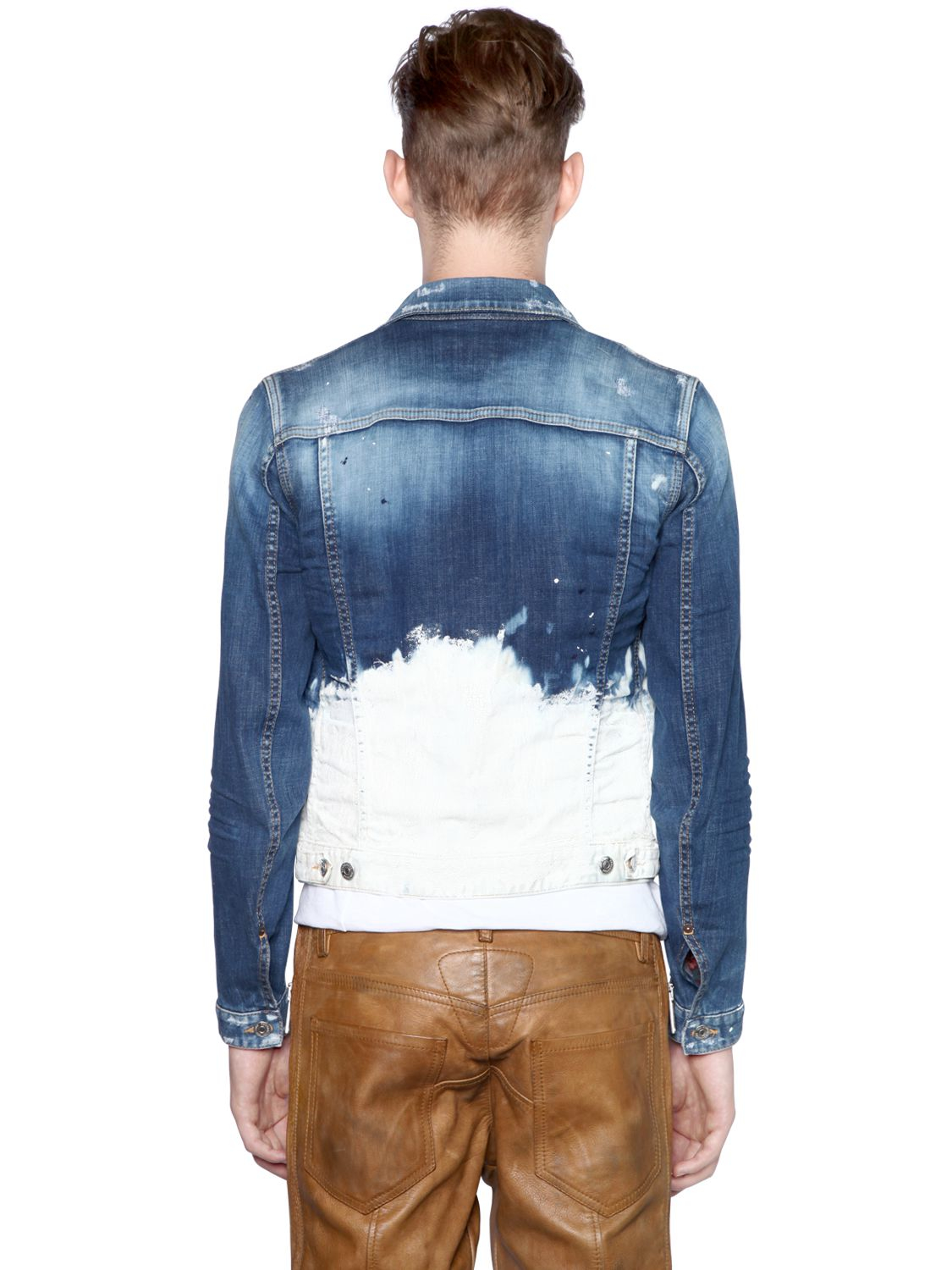 64395b9dc50f6a DSquared² Painted Cotton Denim Jacket in Blue for Men - Lyst