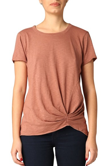 Lyst michael stars pleat front crewneck tee in brown for Michael stars tee shirts