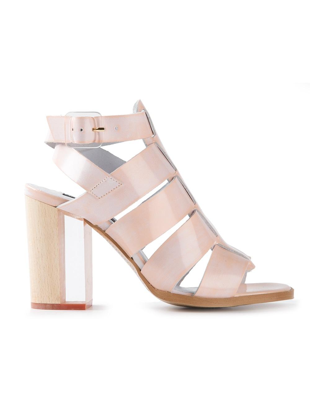 Lyst Miista Isabella Chunky Heel Sandals In Pink