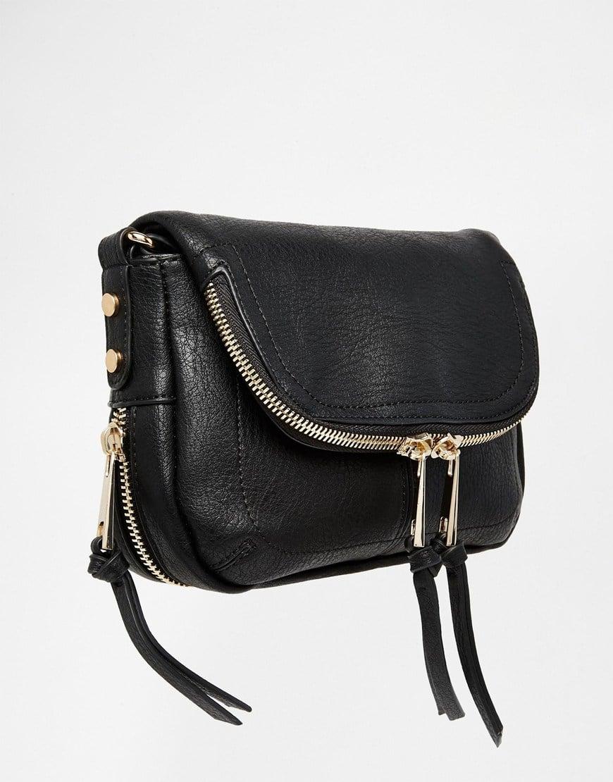 Lyst - Oasis Fold Over Zip Detail Cross Body Bag in Black