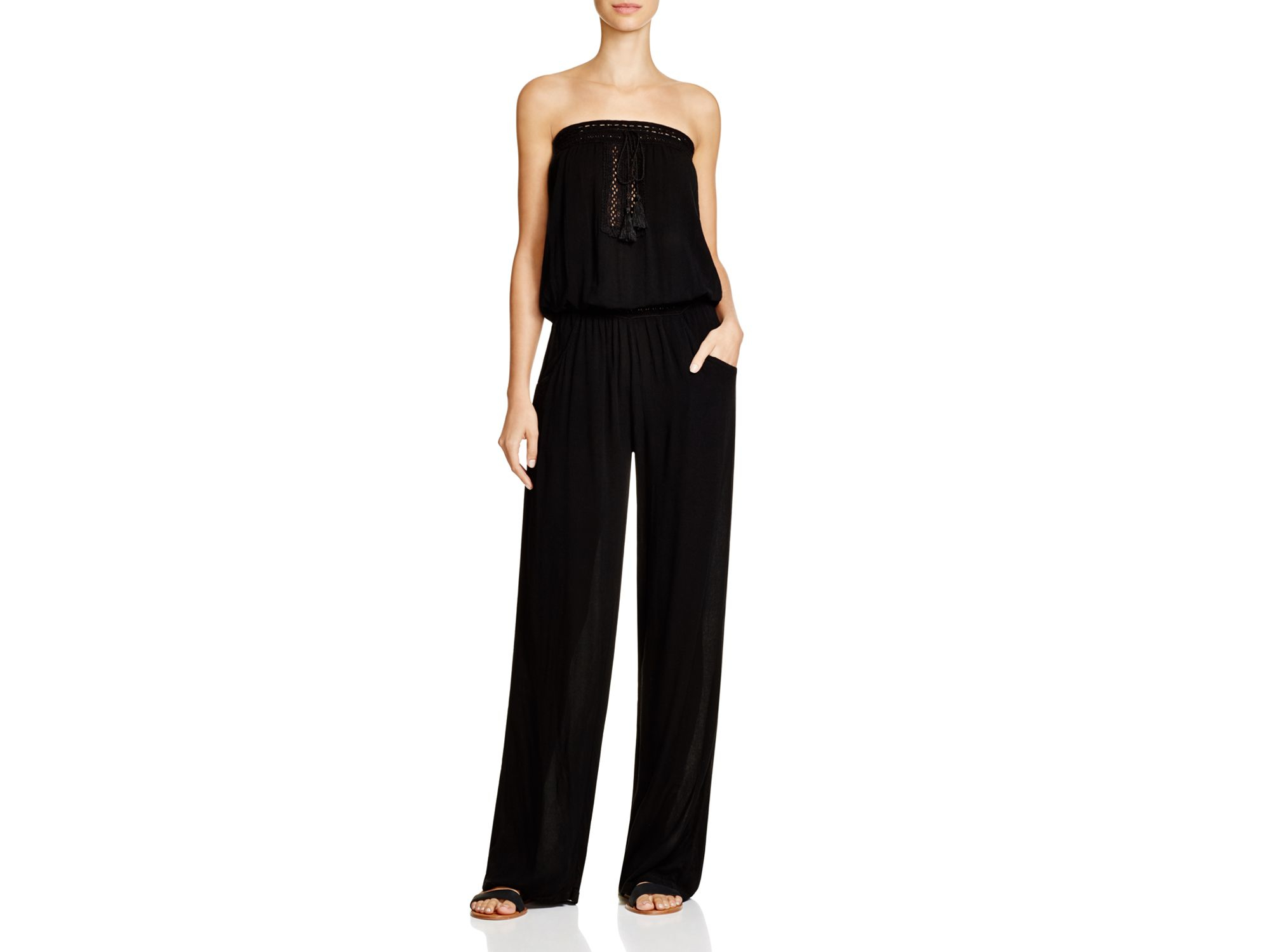 98a6c1ea89 Surf Gypsy Crocheted Trim Jumpsuit Swim Cover Up in Black - Lyst