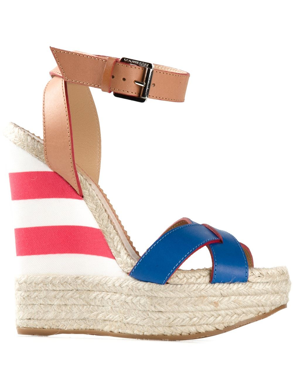 dsquared 178 striped wedge sandals in blue lyst