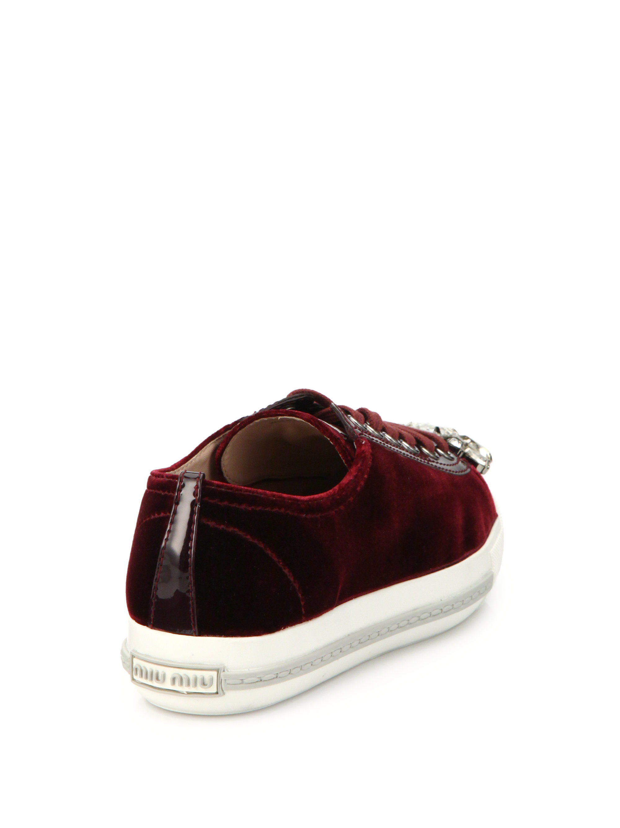 sale clearance store Miu Miu Velvet Jewel-Embellished Sneakers clearance official MGxcbQ