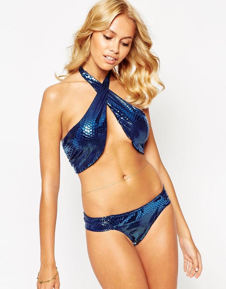 Asos Metallic Foil Snake Print Cross Wrap Halter Bikini