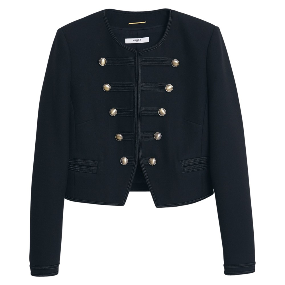 Mango military embroidered jacket in black lyst