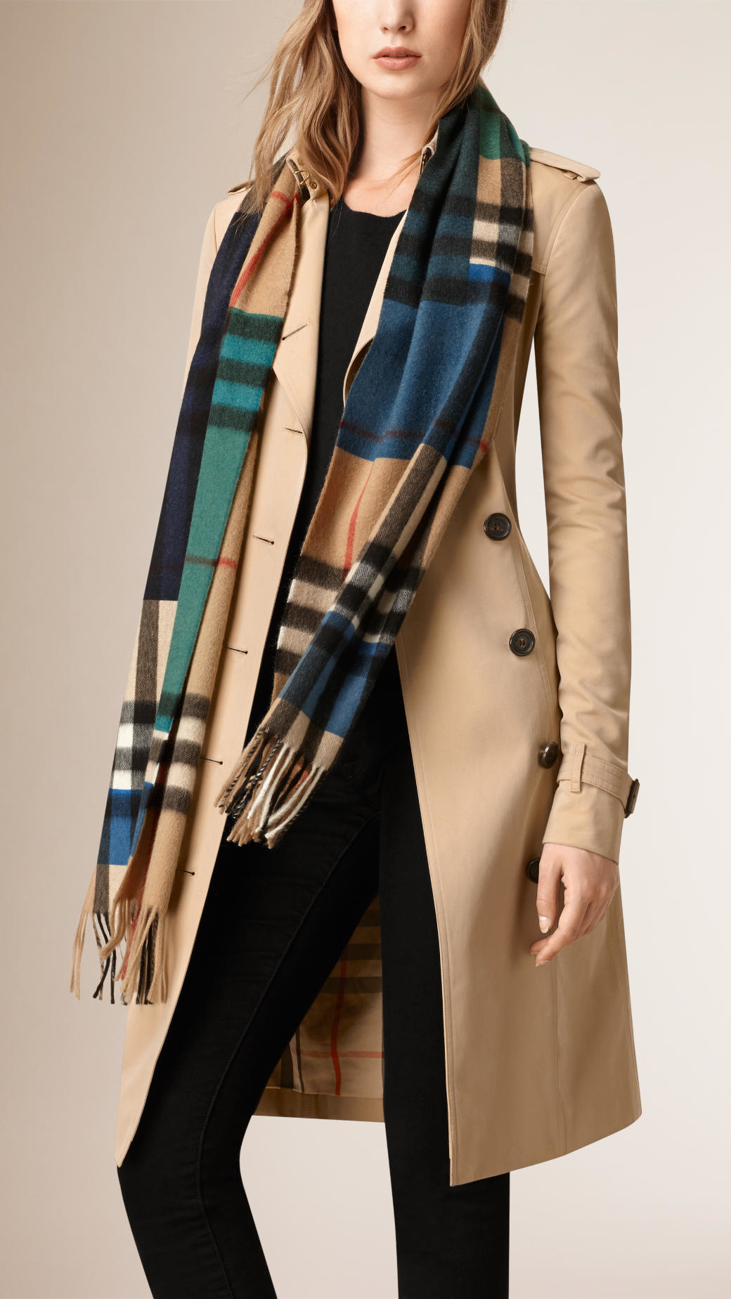 burberry colour block check scarf in blue for