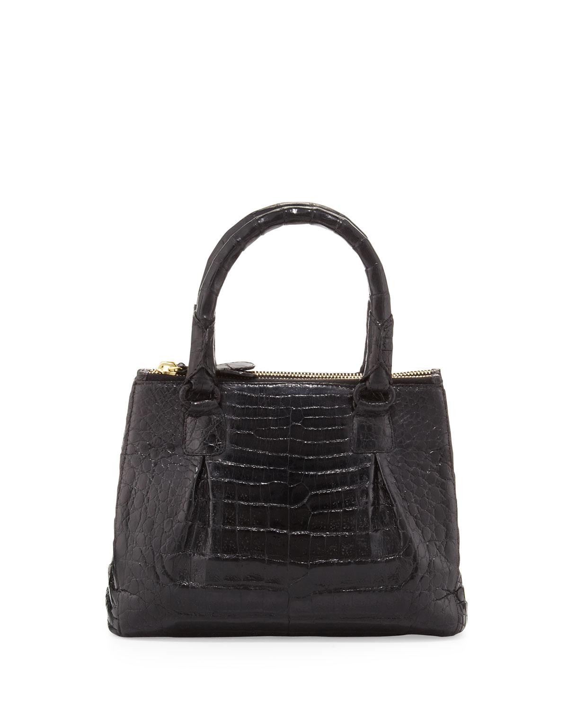 Nancy gonzalez black mini open top crocodile tote bag lyst for Nancy gonzalez crocodile tote