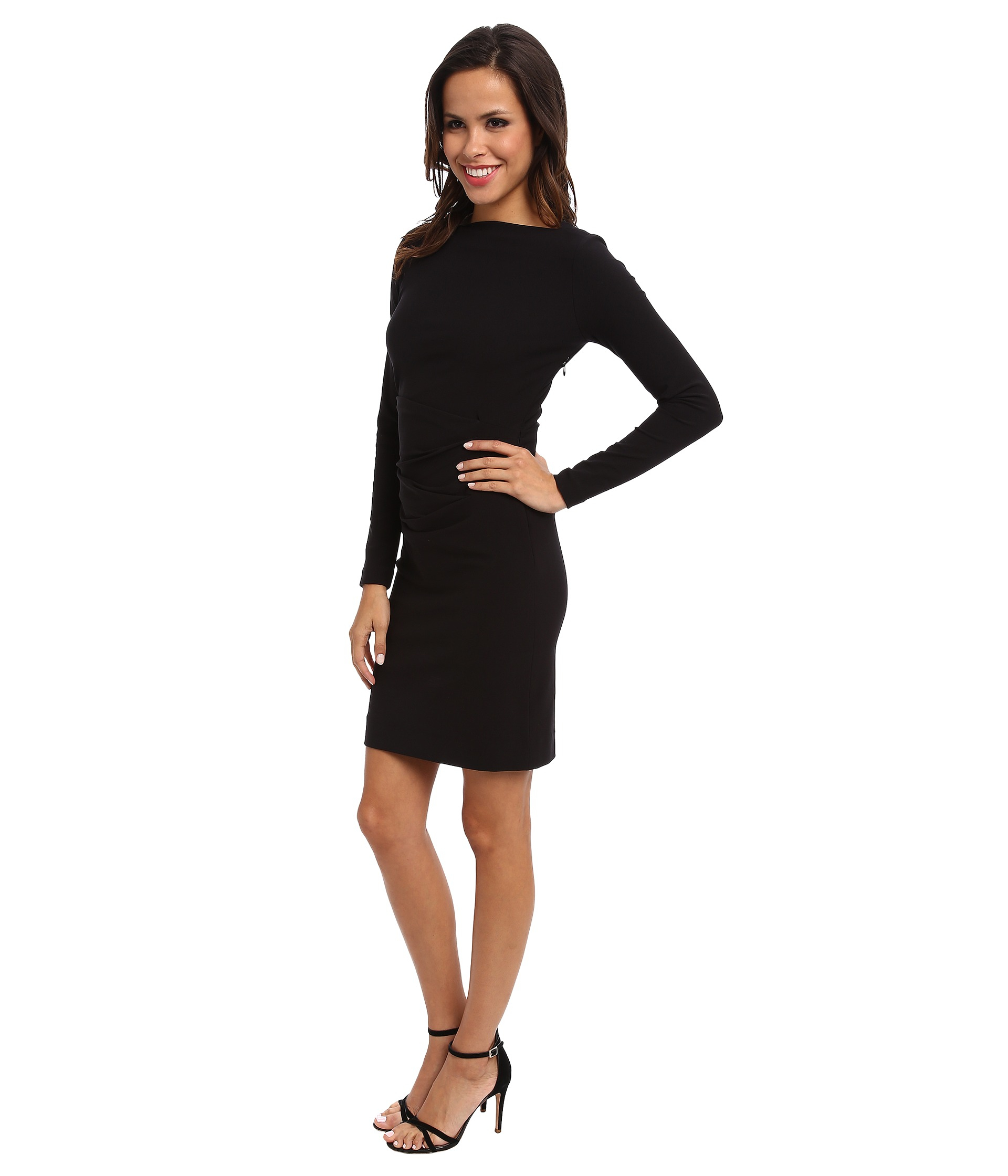 Nicole Miller Quinn Bi Stretch Tuck Dress In Black Lyst