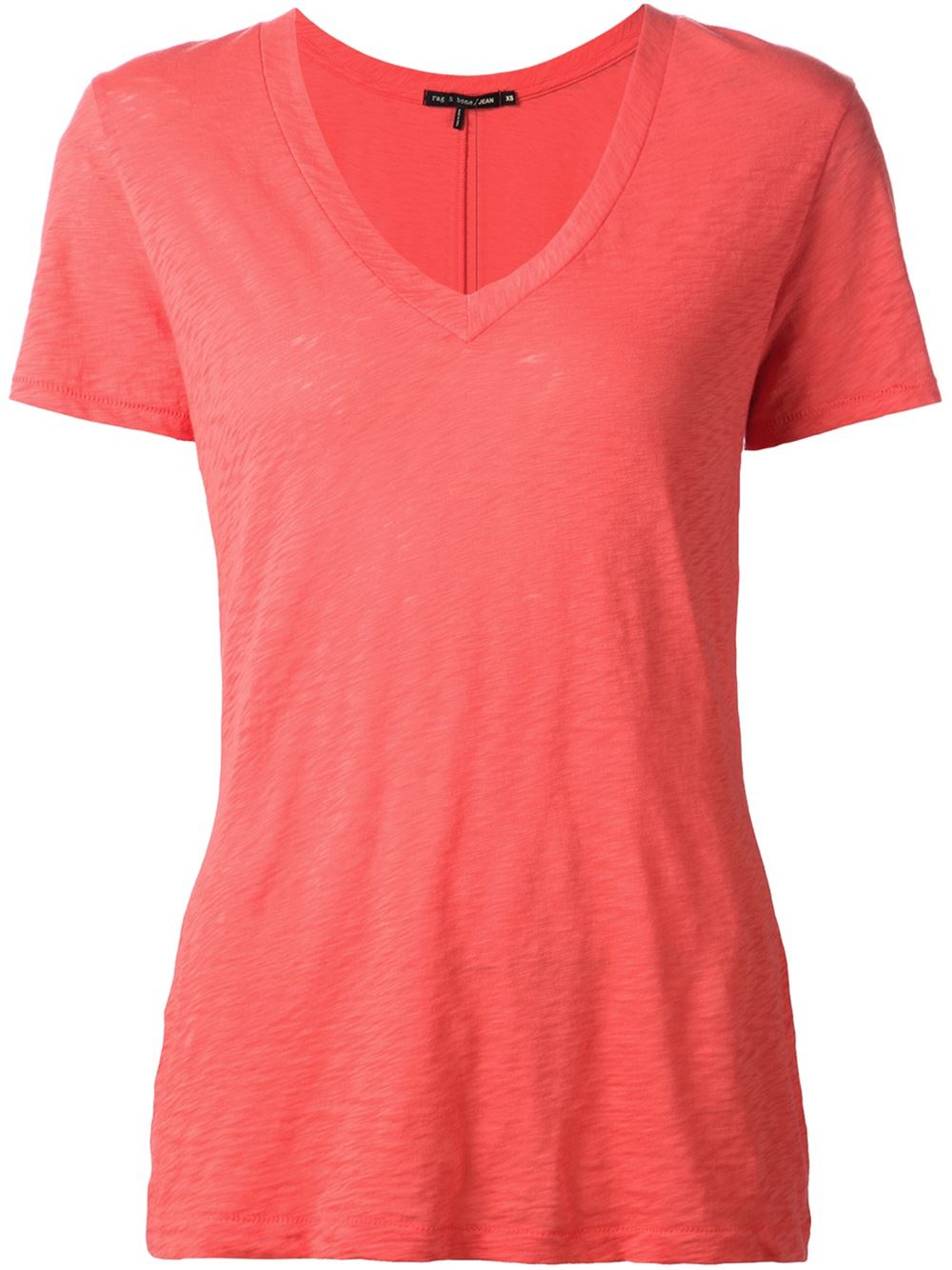 Lyst rag bone classic v neck t shirt in pink for Rag and bone t shirts