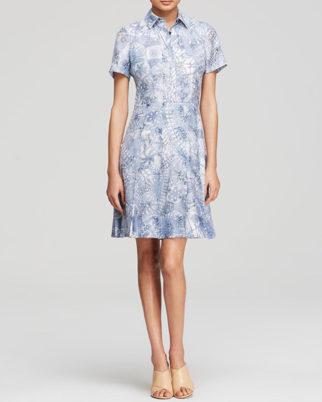 ab49be2a01 Lyst - Tory Burch Leaf Print Shirt Dress in Blue