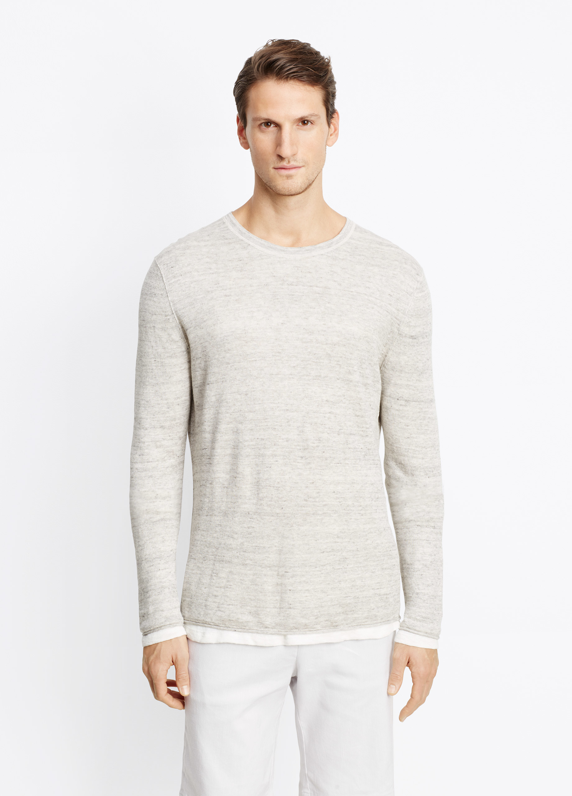 Vince linen double layer lightweight sweater in gray for for Vince tee shirts sale